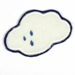 Aufnäher Wolke Applikation aus Fleece zum aufbügeln weiches weißes Bügelbild als Accessoire Aufbügler