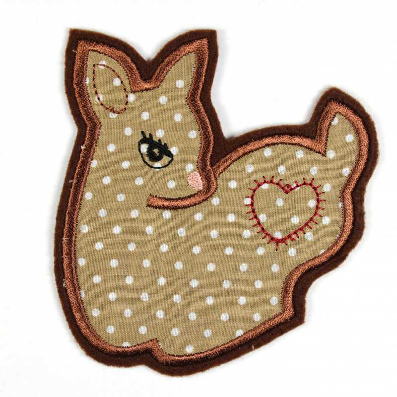 Deer iron-on patch as iron-on appliqué or patch and accessories