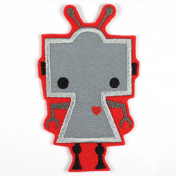 Iron-on patch robot with a heart as an iron-on appliqué or patch and accessories