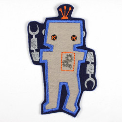 Iron-on patch robot with machine heart as an iron-on appliqué or patch and accessories