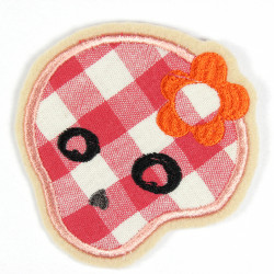 Iron-on patch skull with flower in the hair as an appliqué to iron on or patches and accessories, patches for adults