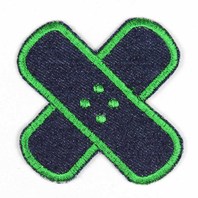 Iron-on cross patches in jeans with green edges, well suited as knee or trouser patches