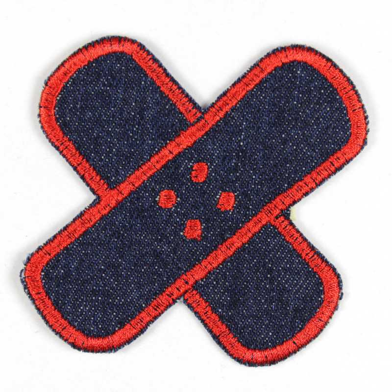Iron-on cross patch in jeans with a red border, well suited as knee or trousers patches