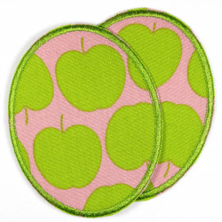 two iron-on patches with apple motif, ideal as knee or trouser patches
