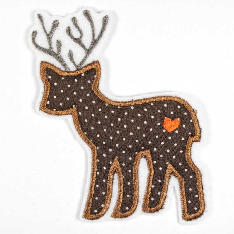 Iron-on patch deer as an iron-on appliqué or patch and accessories