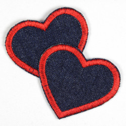 2 little heart appliques blue jeans denim iron on patches embroidery red trim for textile repair