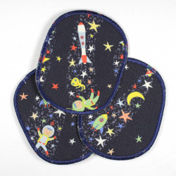 iron-on patches rockets stars starlettes astronauts appliques usable as knee patches double pack
