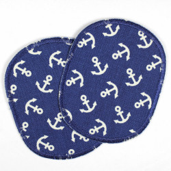 Flickli - the patch! Set oval retro little white anchor on blue