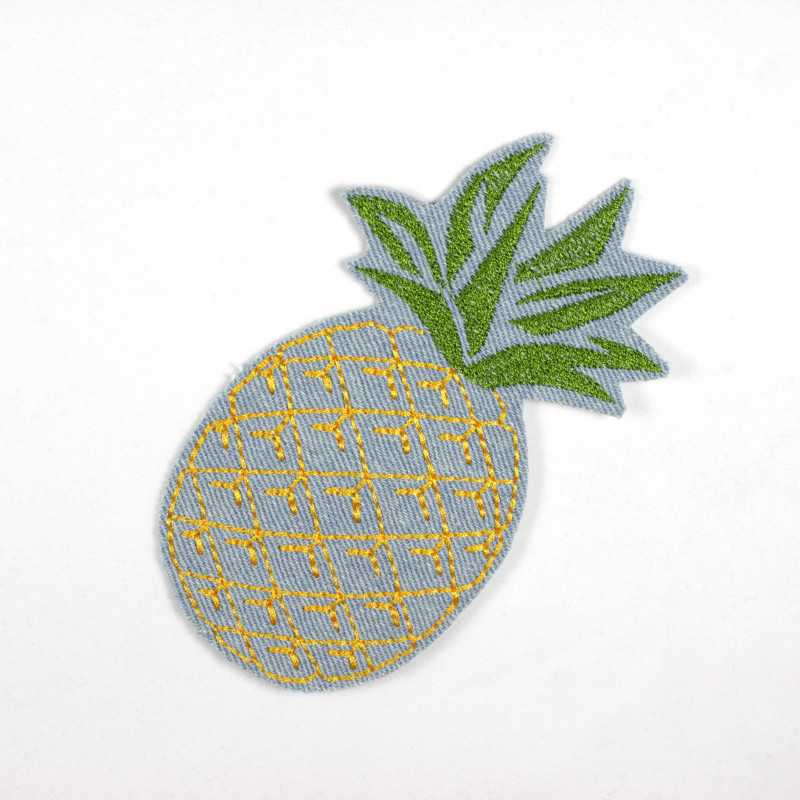 Iron-on image pineapple jeans patches light blue to iron on green gold large iron-on patch
