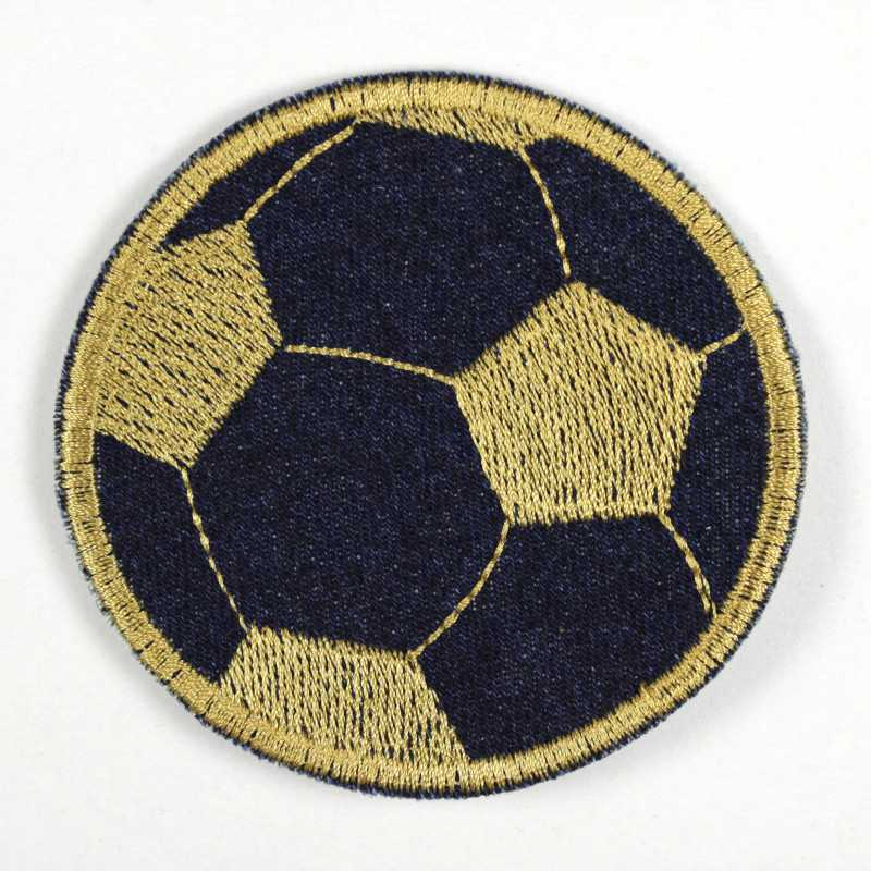 Iron-on patch football in dark blue jeans with golden embroidery as an appliqué to iron on or patches and accessories