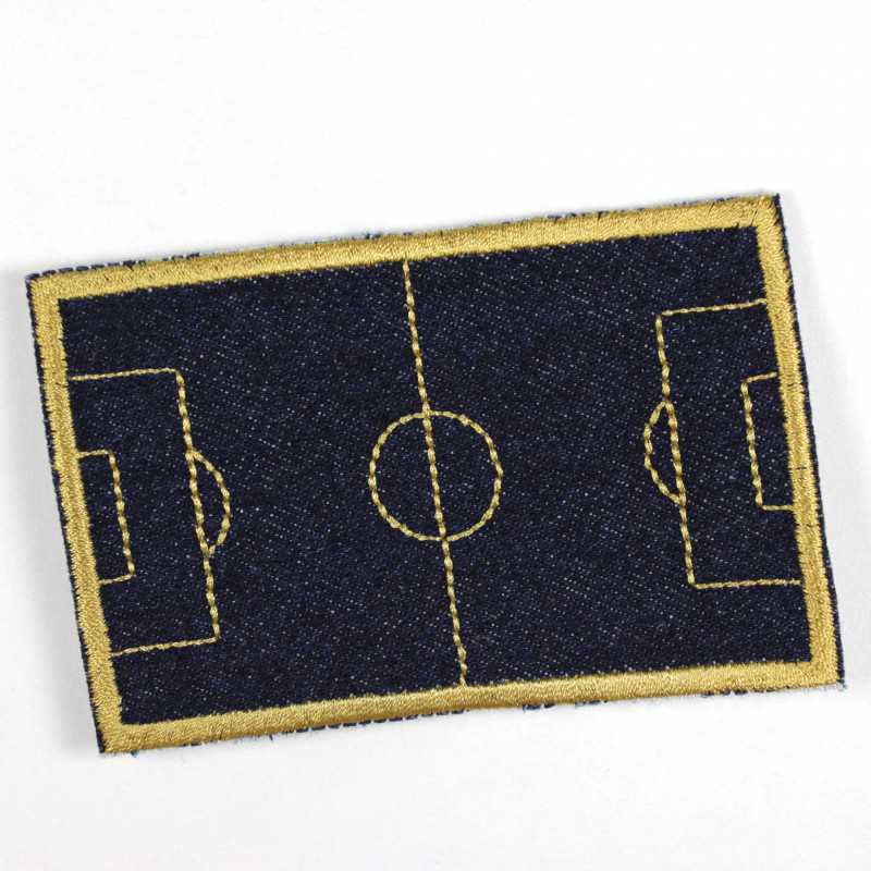 Iron-on patch soccer field in dark blue jeans with golden embroidery as an appliqué to iron on or patches and accessories