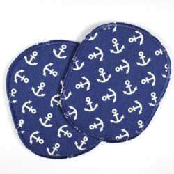 Flickli - the patch! Set XL retro little white anchor on blue big iron on badges