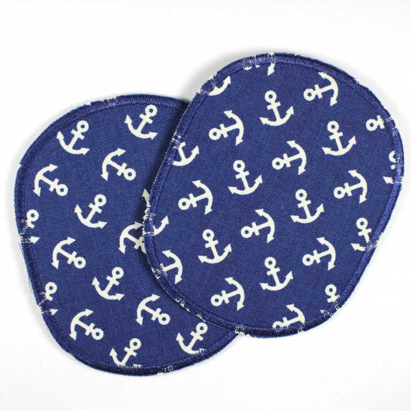 2 large iron-on patches with anchors in a retro set to iron on, ideal as knee or elbow patches, patches for adults