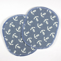 2 large iron on patches light blue appliques with white little anchors textile repair patches