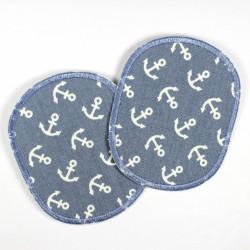 Flicken Set retro weisse Anker auf hellblau 2 Knieflicken 10 x 8 cm Aufbuegler Hosenflicken maritime Buegelflicken