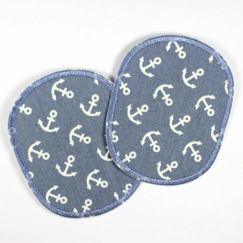2 iron-on patches with anchors on light blue in a retro set to iron on, ideal as a knee or elbow patch