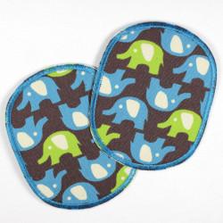 Hosenflicken Set retro Elefant hellgrün blau Knieflicken 10 x 8 cm 2 Buegelflicken Elefanten Flicken für Kinder Aufbuegler