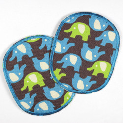 kit of 2 iron-on patches elephants green blue strong appliques usable as pants patches and knee patches