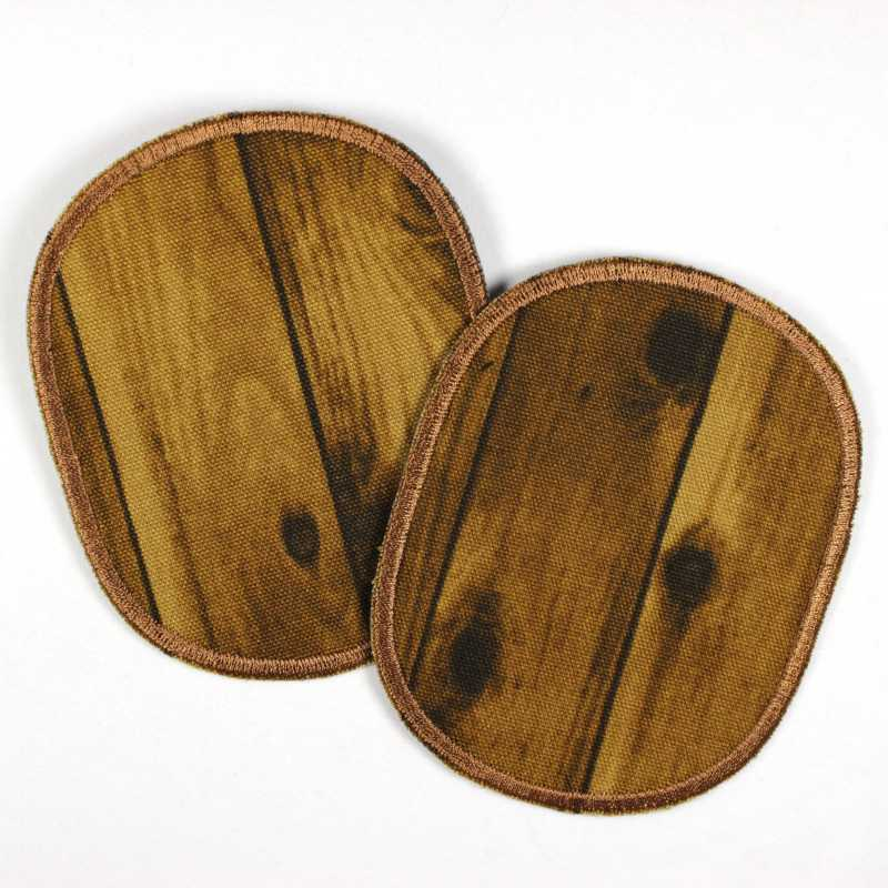 2 iron-on patches Wooden board in a retro set for ironing on, ideal as a knee or elbow patch