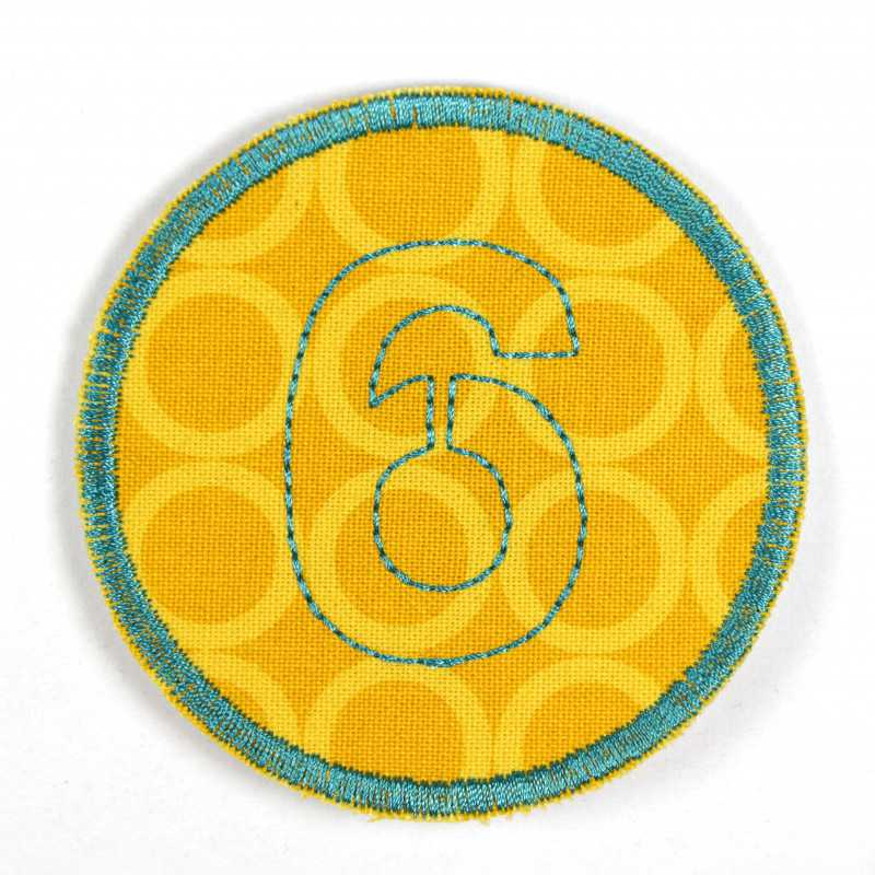 round patch with the number 6 for ironing on, ideal as an elbow patch or knee patch