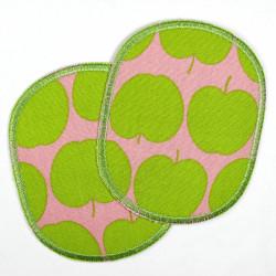 Flicken Set retro Apfel gruen auf rosa Buegelflicken 10 x 8 cm Knieflicken 2 Hosenflicken Aufbuegler für Mädchen mit Aepfel