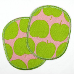 2 iron-on patches with apple motif in a retro set, ideal as a knee or trouser patch