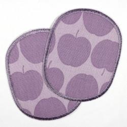 Buegelflicken Set retro Apfel Flicken violet auf lila 2 Knieflicken 10 x 8 cm Aufbuegler Hosenflicken 2 Flicken für Mädchen