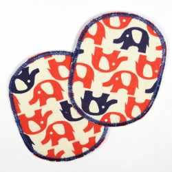 Buegelflicken Set retro Knieflicken Elefant rot blau 2 Aufbuegler 10 x 8 cm Hosenflicken Patches für Kinder Flicken Tiere