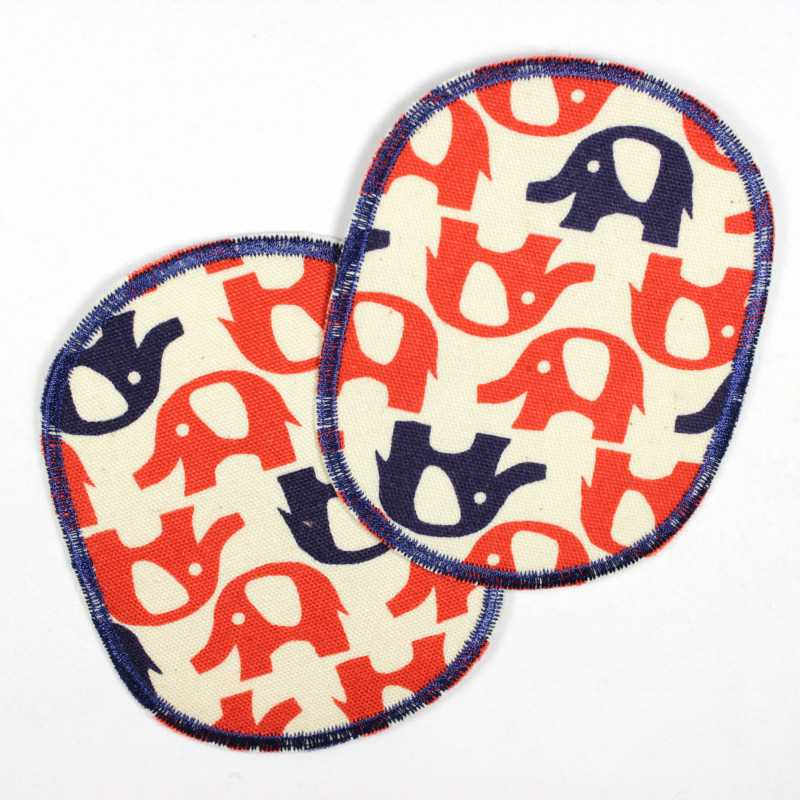 2 iron-on patches with red and blue elephants in a retro set, ideal as a knee or trouser patch