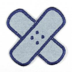 criss cross band aid applique light blue denim jeans blue trim iron on patch