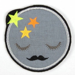 moon with mustache and neon stars