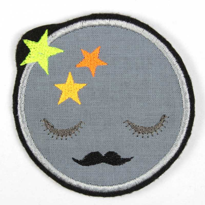 Iron-on patch moon with mustache and neon stars iron-on appliqué or patches and accessories