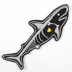 shark iron on patches skeleton applique part. neon colors