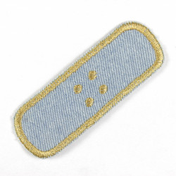 Patch plaster in light blue jeans with golden embroidery to iron on