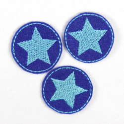 Mini patches rund with stars turquoise on blue iron on patches