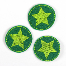 3 iron on patches green round applique with little star embroidery light green