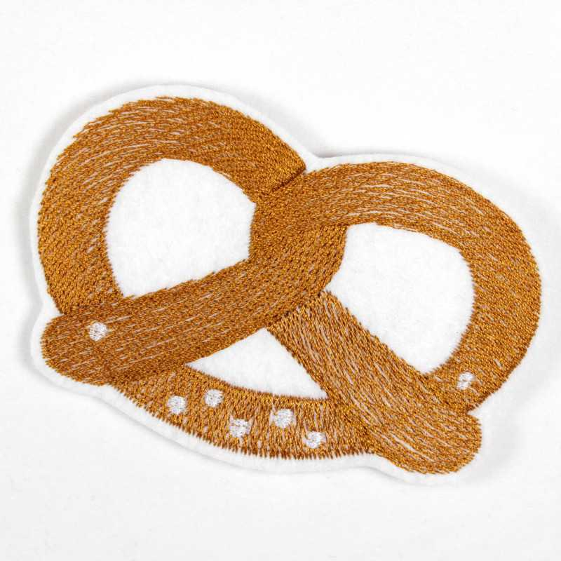 iron-on patches pretzel embroidered applique as accessory usable badge