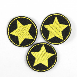 Mini patches rund with stars yellow on black iron on patches