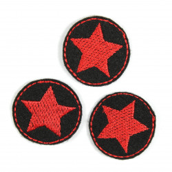 3 iron on patches black with red star embroidery small appliques around