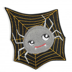 Applique spider with fluffy fleece as a patch, applique and iron-on accessory
