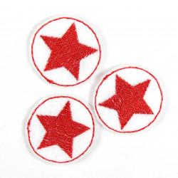 Aufbügler Flicken rund 3er Set Stern rot auf weiss Bügelflicken klein Bügelbilder Sterne patches Applikation zum aufbügeln