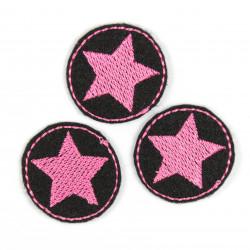 Bügelflicken Aufbügler rund 3er Set mini Stern rosa auf schwarz Bügelbild patches Sterne klein zum aufbügeln im Set Bügelbilder