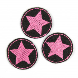 Mini patches rund with stars pink on black iron on patches small