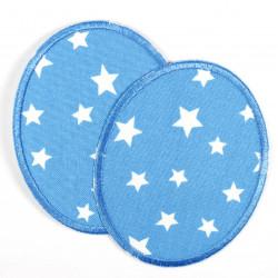 Knieflicken Sterne weiss auf hellblau Flickli oval Set