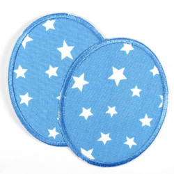 pant´s patches stars withe on light blue Flickli Set oval