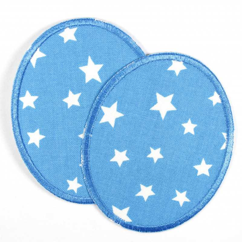 2 round patches in light blue with white stars in a set, ideal as elbow patches or knee patches