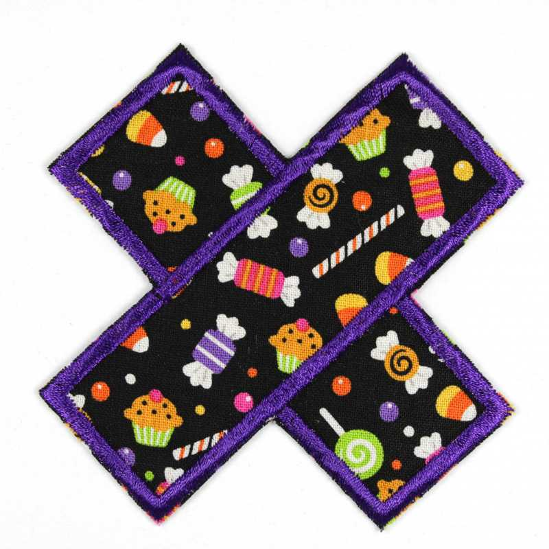 Patch plaster candy as an iron-on appliqué or patch and accessories