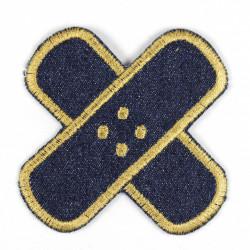 Bügelflicken Jeans Pflaster blau gestickter Rand gold Aufbügler und Accessoires