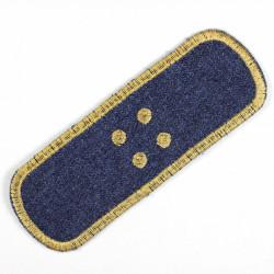 Flickli Pflaster Bügelflicken Jeans dunkelblau einzel gold