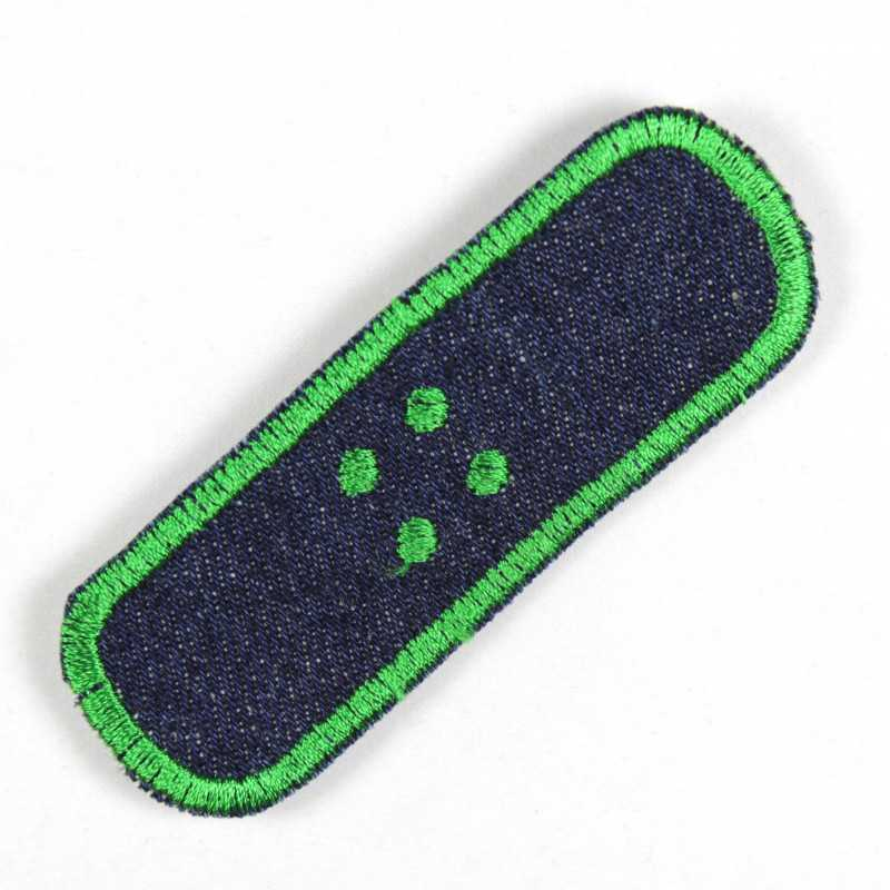Iron-on patches jeans plaster blue embroidered border green iron-on patches and accessories